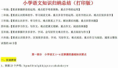 小学1-6年级语文知识归纳总结(打印版) pdf文档 百度网盘