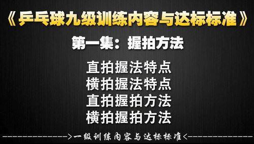 乒乓球业余一级到专业九级训练教学与达标标准(720P超清)百度网盘