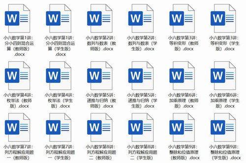 通用版6年级全册数学知识点汇总(docx文档)百度网盘